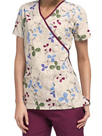 Clover Park Mock Wrap Print Top