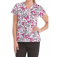 Med Couture Flutter Fun Print Tops