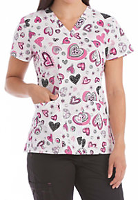 Med Couture Light Hearted Curved Neck Print Scrub Tops