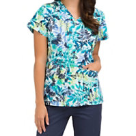 Med Couture Midsummer Dream Curved Neck Print Tops