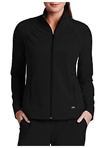 Barco One 2 Pocket Crew Neck Zip Front Scrub Jackets
