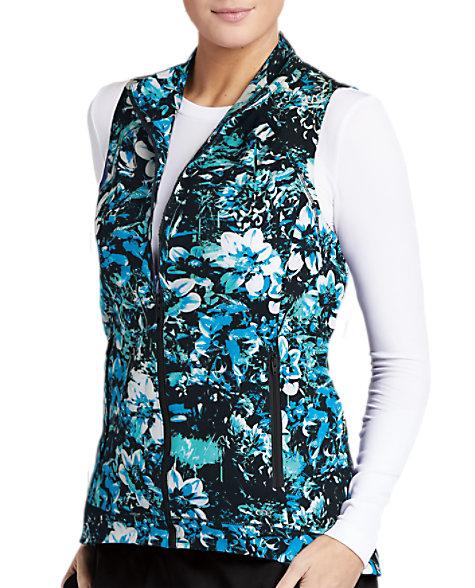 5b759a31bb2 Barco One Night Bloom Zip Front Print Scrub Vests   Scrubs & Beyond