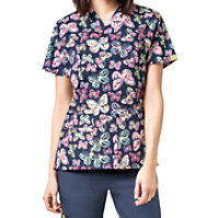 WonderWink Origins Flutter Bunch V-neck Print Tops
