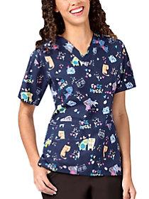 Hug A Nurse V-Neck Print Top