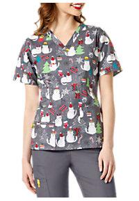 see details item 6017mb wonderwink origins a merry bunch holiday v neck print scrub tops