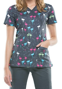 Cherokee Ready To Flamingo Print Scrub Tops