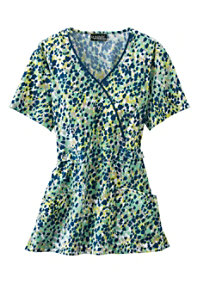 Cherokee Runway Stone Age Crossover Print Scrub Tops