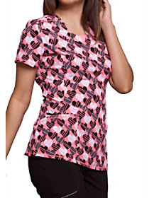 Lined With Love Print Top