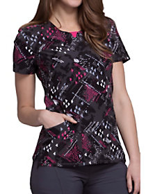 Texture Triangle Print Top