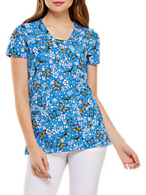 Blooming Butterfly V-Neck Print Top