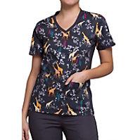 d833c454cfa Cherokee Flexibles Geo Giraffe V-neck Print Scrub Tops