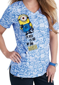 Cherokee Tooniforms My Own Minion Crossover Print Scrub Tops