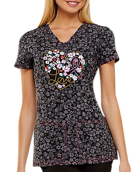 4f0dd7b6695 HeartSoul Floral Ever In My Heart Breast Cancer Awareness V-neck Print  Scrub Tops   Scrubs & Beyond