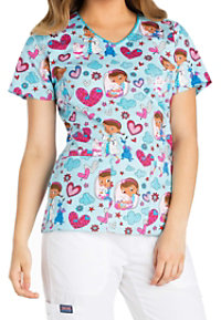 Cherokee Tooniforms Hugs Are To Heal V-neck Print Scrub Tops