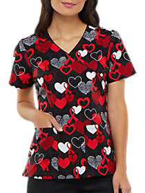 Heart Smart Mock Wrap Print Top