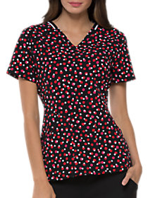 Dots So Perfect Red V-Neck Print Top