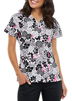5e0ed721b7f Cherokee Paisley Love Breast Cancer Awareness V-neck Print Scrub Tops
