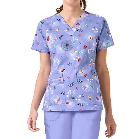 9291190df6f WonderFlex Bees Knees V-neck Print Scrub Tops | Uniform City