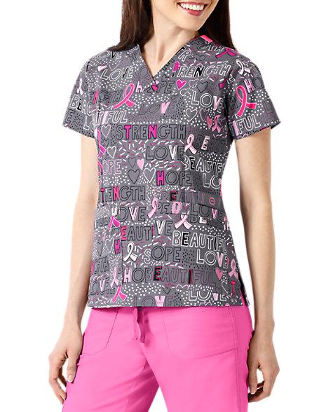 3085683f WonderFlex Hope Love & Strength Breast Cancer Awareness V-neck Print Scrub  Tops   Scrubs & Beyond