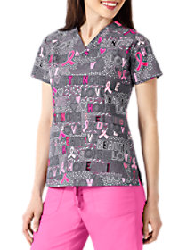 Hope Love & Strength Breast Cancer Awareness Print Top