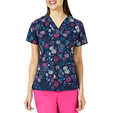 acbfe61e79b WonderFlex Handpicked For You V-neck Print Scrub Tops | Uniform City