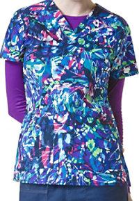 WonderFlex Lady Fly By V-neck Print Scrub Tops