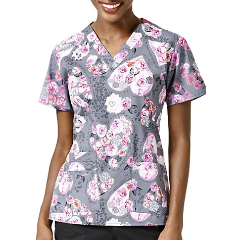 d79ae93523d WonderWink WonderFlex Made With Love V-neck Print Scrub Tops ...