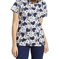 White Cross Sketchy Hearts V-neck Print Tops