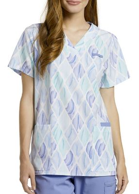 Argyle Brush V-Neck Print Top