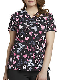 Hopeful Hearts Ribbons V-Neck Print Top