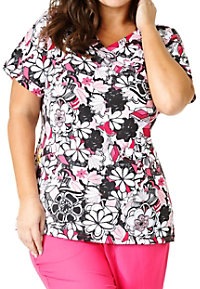 WonderWink Plus Floral Graffiti Mock Wrap Print Scrub Tops