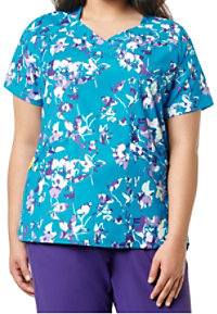 WonderWink Plus Pinpoint Posey Print V-neck Scrub Tops
