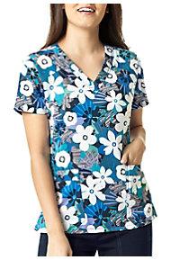 94abaefd9f4 See Details item #6217BL · WonderWink Four-Stretch Belle Flower V-Neck Print  Scrub Top