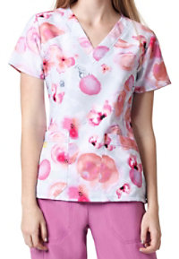WonderWink Four-Stretch Pink Enough Crossover Print Scrub Tops