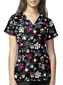 Pawbulous Friends V-Neck Print Scrub Top