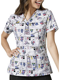 Scrub-A-Dub V-Neck Print Top