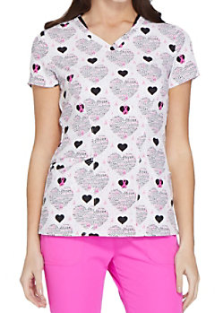 0d0b540aa91 HeartSoul Dream and Inspire Breast Cancer Awareness V-neck Print Scrub Tops