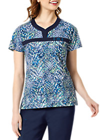 Feel The Blues Y-Neck Print Top