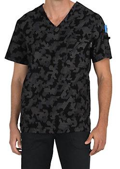 415a8fed057 Koi Stretch Men's Coby Techno Camo V-neck Print Scrub Tops