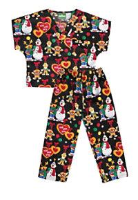 Cherokee Tooniforms Sesame Ho Ho Kids Print Scrub Set