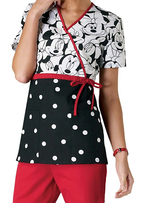 see details item 6625mm cherokee tooniforms miss minnie mouse print empire waist mock wrap scrub tops