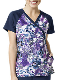 Violet Fields Mock Wrap Print Top