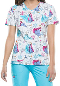 Cherokee Tooniforms Frozen Party Print Scrub Tops
