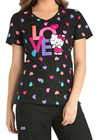 Cherokee Tooniforms Sweet Hello Kitty Cut-out Print Scrub Tops