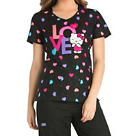 Cherokee Tooniforms Sweet Hello Kitty Cut-out Tops