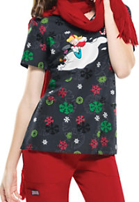 Cherokee Tooniforms Jolly Frosty Fun Print Scrub Tops