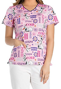 Cherokee Tooniforms Snow Hugs V-neck Print Scrub Tops