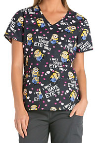 Cherokee Tooniforms Eye For You Print Scrub Tops