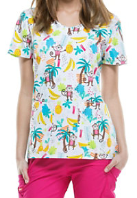 Dickies EDS Let's Monkey Around Print Scrub Tops