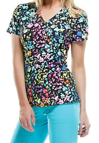 Dickies Xtreme Stretch Posey On Over The Rainbow Print Scrub Tops